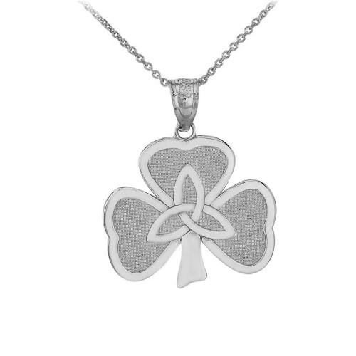 Celtic Trinity Knot Shamrock Pendant Necklace in Sterling Silver