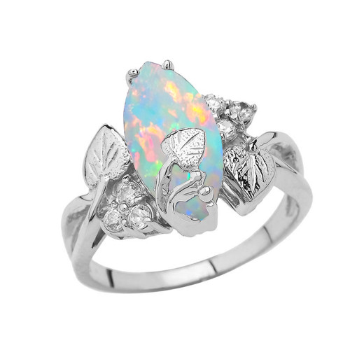 Beautiful Floral Simulated Opal Gemstone Ring In Sterling Silver