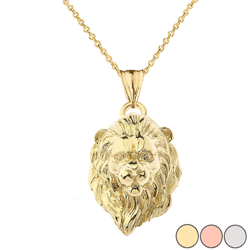 Solid Gold Lion Head Pendant Necklace In (Yellow/Rose/White)