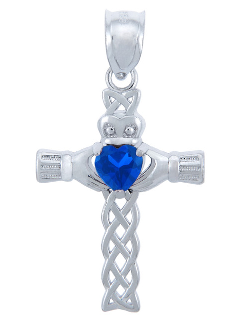 Silver Celtic Cross Pendant with Sapphire CZ Heart