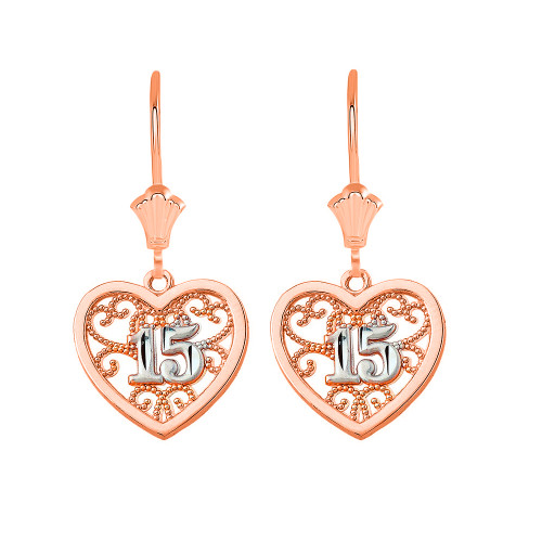 Two-Tone Filigree Heart Quinceanera Leverback Earrings in 14K Solid Rose Gold