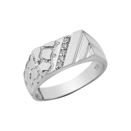 CZ Nugget Ring In Sterling Silver
