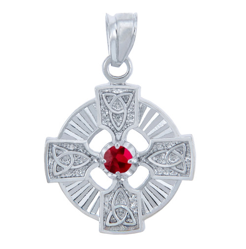 Silver Celtic Trinity Pendant with Garnet CZ Stone