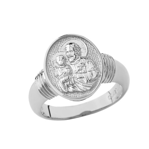 Saint Joseph Oval Ring In Sterling Silver