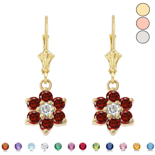 Dainty Milgrain Flower Personalized Birthstone Earring In 14K Gold