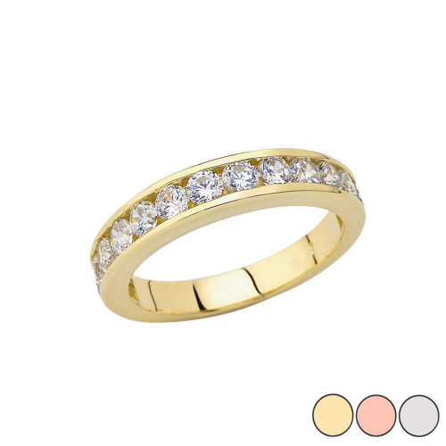 Men's Wedding Band Ring With CZ In Gold (Yellow/Rose/White)