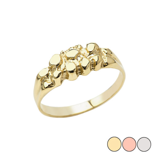 Men's Pinky Nugget Ring in Gold (Yellow/Rose/White)