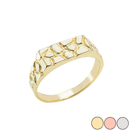 Pinky Men's Nugget Ring in Gold (Yellow/Rose/White)