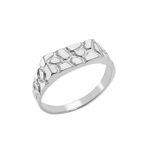 Pinky Men's Nugget Ring in Sterling Silver