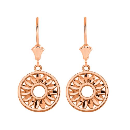 Bohemian Leaves Leverback Earrings in 14K Solid Rose Gold