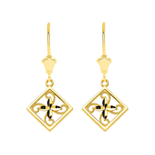 Charming Filigree Flower Leverback Earrings in Solid Yellow Gold