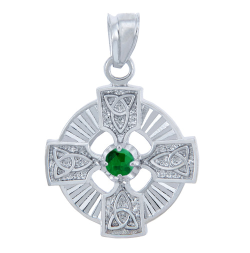 Silver Celtic Trinity Pendant with Emerald CZ Stone