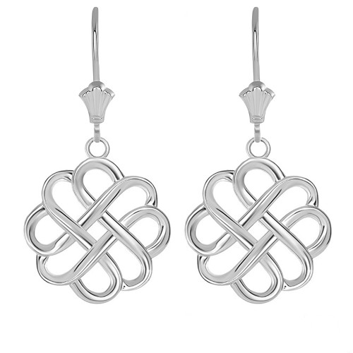 Intricate Celtic Knot Leverback Earrings in 14K Solid White Gold
