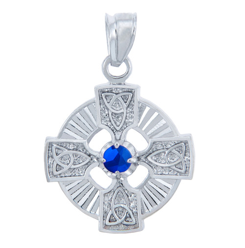 Silver Celtic Trinity Pendant with Sapphire CZ Stone