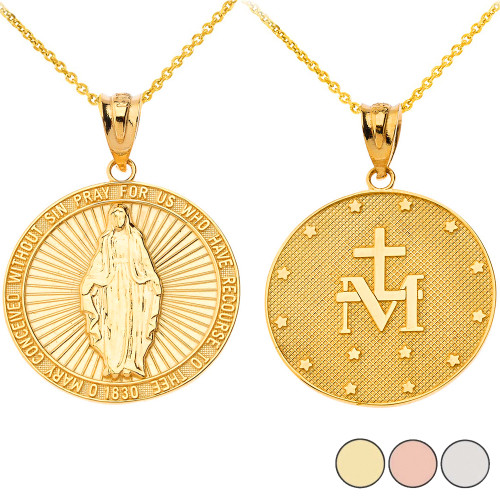 Our Lady of Graces Miraculous Medal Pendant Necklace in Solid Gold (Yellow/Rose/White)
