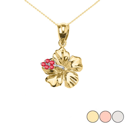 Caribbean Hibiscus (Malvaceae) Ruby Dainty Pendant Necklace In Gold (Yellow/Rose/White)