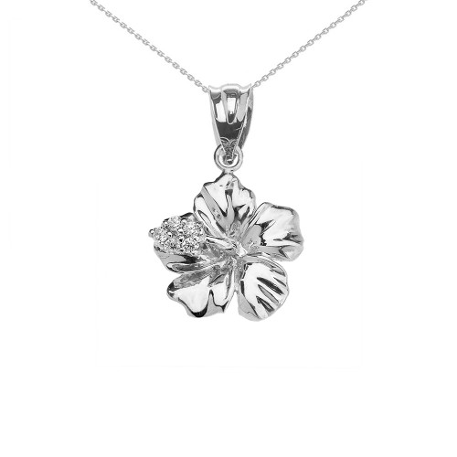 Caribbean Hibiscus (Malvaceae) CZ Dainty Pendant Necklace In Sterling Silver