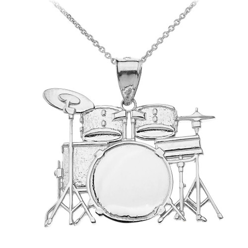 Rock Band Drum Set Pendant Necklace in Sterling Silver