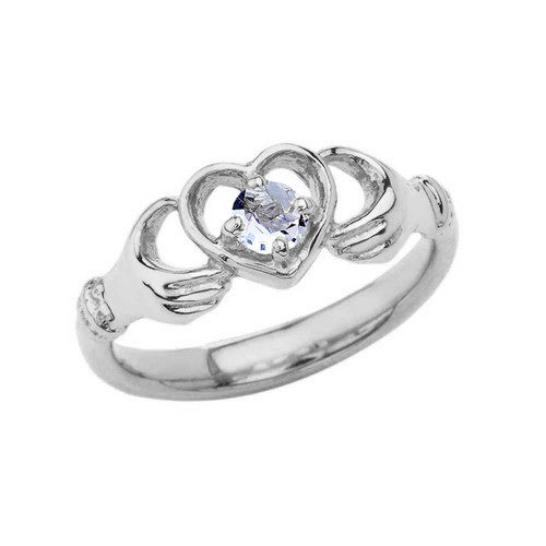 .20 CT Aquamarine Classic Claddagh Ring in Sterling Silver