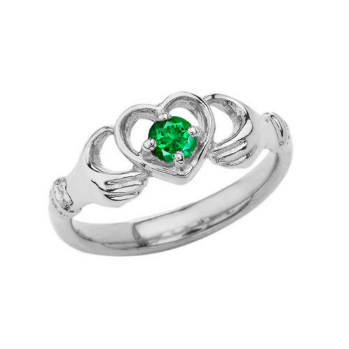 .20 CT Emerald Classic Claddagh Ring in Sterling Silver