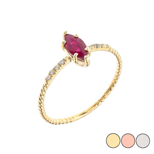 Dainty Solitaire Marquise Cut Ruby and Diamond Rope Design Engagement/Promise Ring in Gold (Yellow/Rose/White)