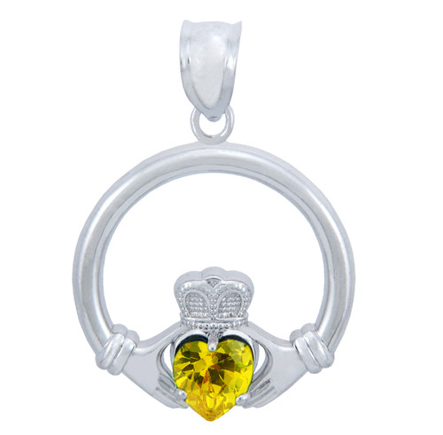 Silver Claddagh Yellow CZ Heart Pendant (M)