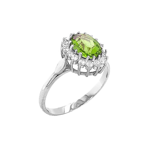 Genuine Peridot Fancy Engagement/Wedding Solitaire Ring in Sterling Silver