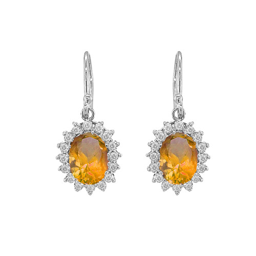 Genuine Citrine Oval-Shaped Fancy Dangle Earrings in Sterling Silver