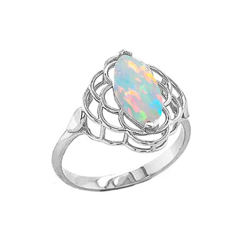 Simulated Opal Open Work Ring In Sterling Silver