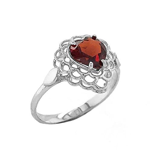Garnet Filigree Heart-Shaped Ring in Sterling Silver