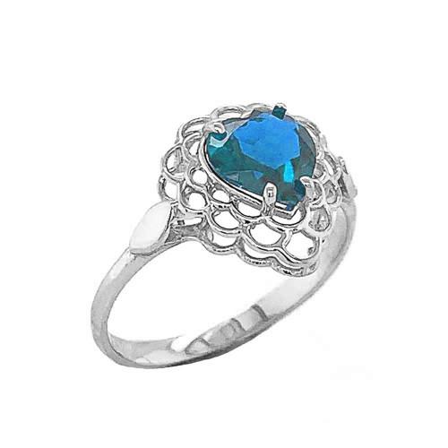 Blue Topaz Filigree Heart-Shaped Ring in Sterling Silver