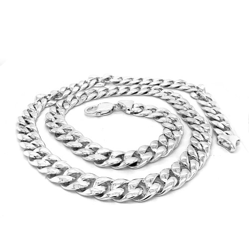 Sterling Silver Handmade Cuban Link Necklace 9.8mm