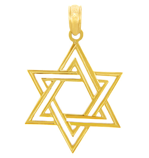 Jewish Charms and Pendants - Double Gold Star of David Pendant