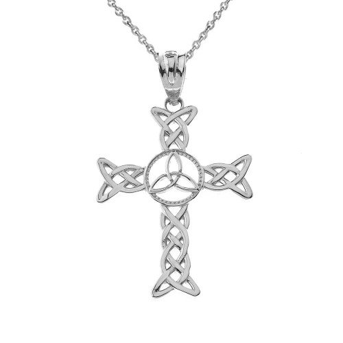Celtic Trinity Knot-Style Cross Pendant Necklace in Sterling Silver
