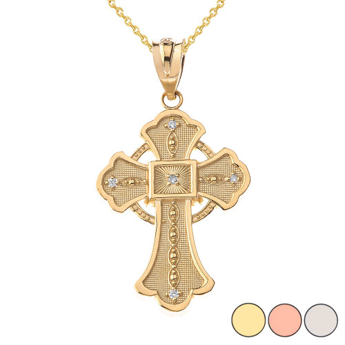 Celtic Cross Pendant Necklace in Gold (Yellow/Rose/White)