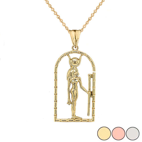 Hathor Egyptian God Pendant Necklace in Gold (Yellow/Rose/White)