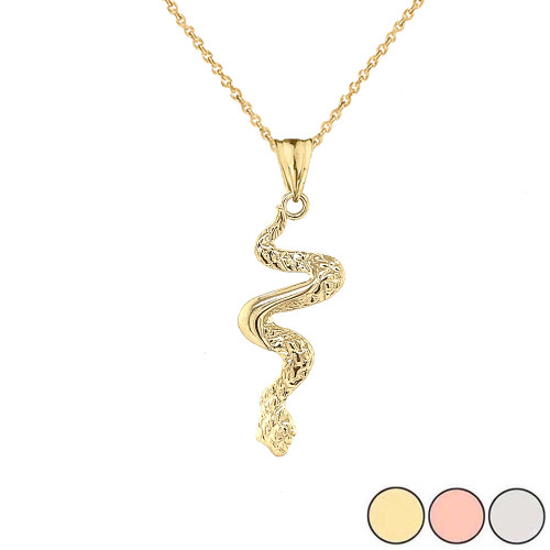 Serpent Snake Pendant Necklace in Gold (Yellow/Rose/White)