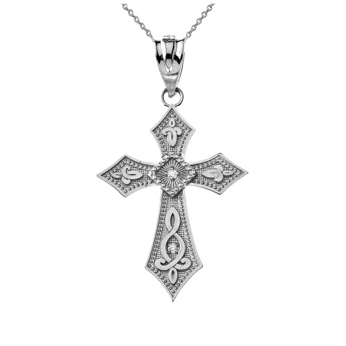Sterling Silver Gold Cross CZ Pendant Necklace
