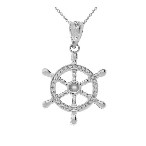 Ship Wheel Pendant Necklace in Sterling Silver