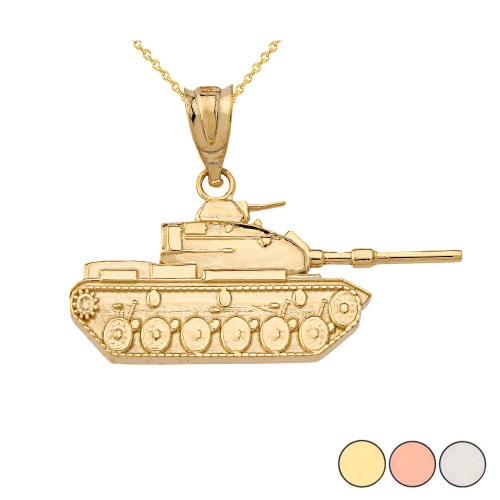 Gold Military Tank Pendant Necklace (Yellow/Rose/White)