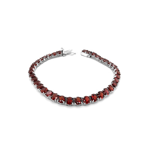 Rhodium-Plated Sterling Silver Genuine Garnet Fancy Tennis Bracelet
