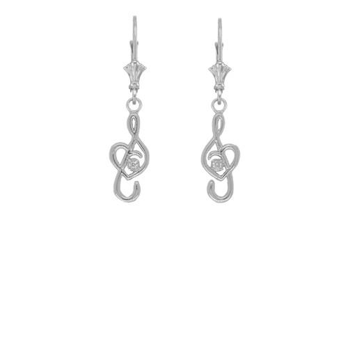 Dainty Diamond Treble Clef Heart Music Note Earrings in Sterling Silver
