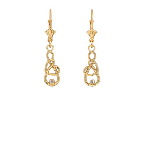 Dainty Diamond Infinity Interlaced Heart Earrings in Gold (Yellow/Rose/White)
