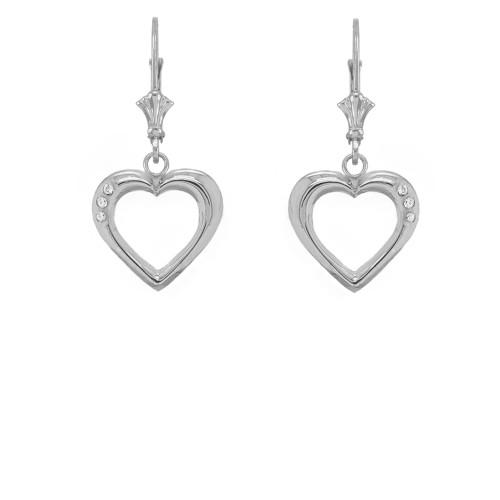 3-Stone Diamond Open Heart Leverback Earrings in Sterling Silver