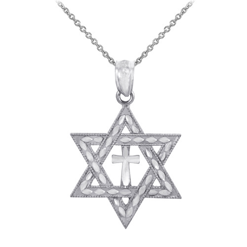 Jewish Charm Necklace- Silver Star Cross of David