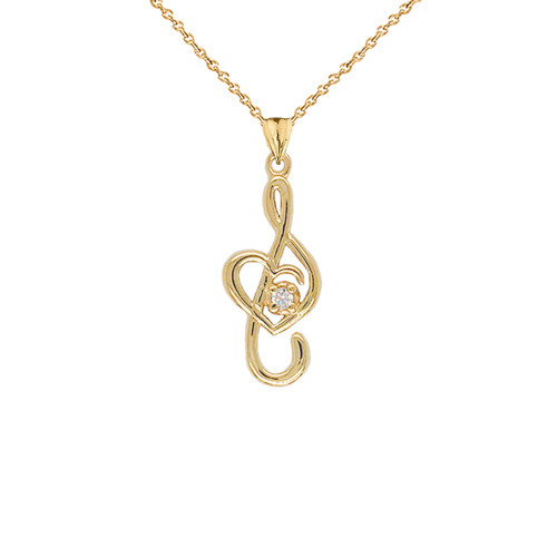 Dainty Diamond Treble Clef Heart Music Note Pendant Necklace in Gold (Yellow/Rose/White) (Large)