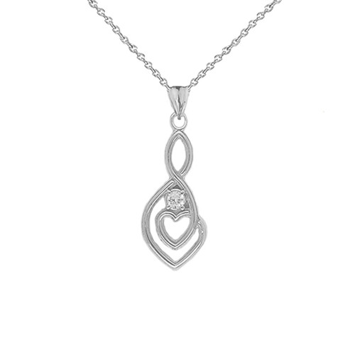 Dainty Diamond Infinity Double Heart Pendant Necklace in Sterling Silver (Large)