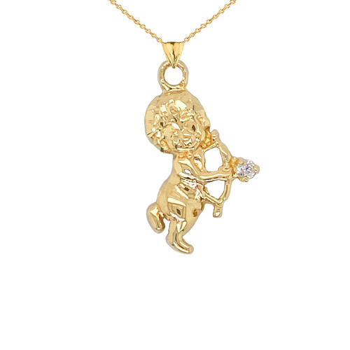 Diamond Cupid Pendant Necklace in Gold (Yellow/Rose/White)