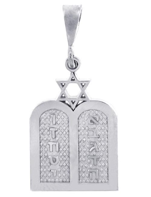 Jewish Charms and Pendants - Silver Ten Declarations Tablets Jewish Pendant