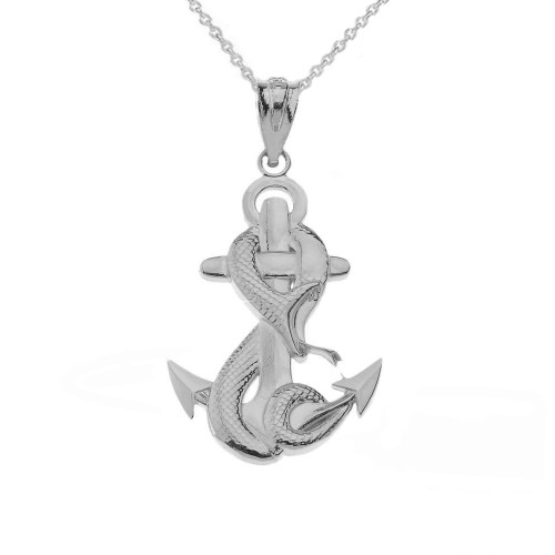 Anchor With Snake in Sterling Silver Pendant Necklace